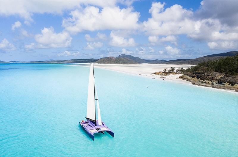 White catamaran on the Great Barrier Reef in Australia