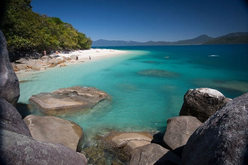 A perfect island beach on fitzroy island during a cairns tour