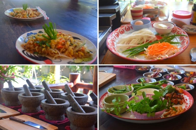A chopping board, knives and ingredients at one of the best cooking classes in Chiang Mai