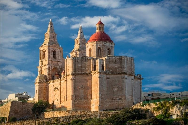 The Mellieha parish church at mid day