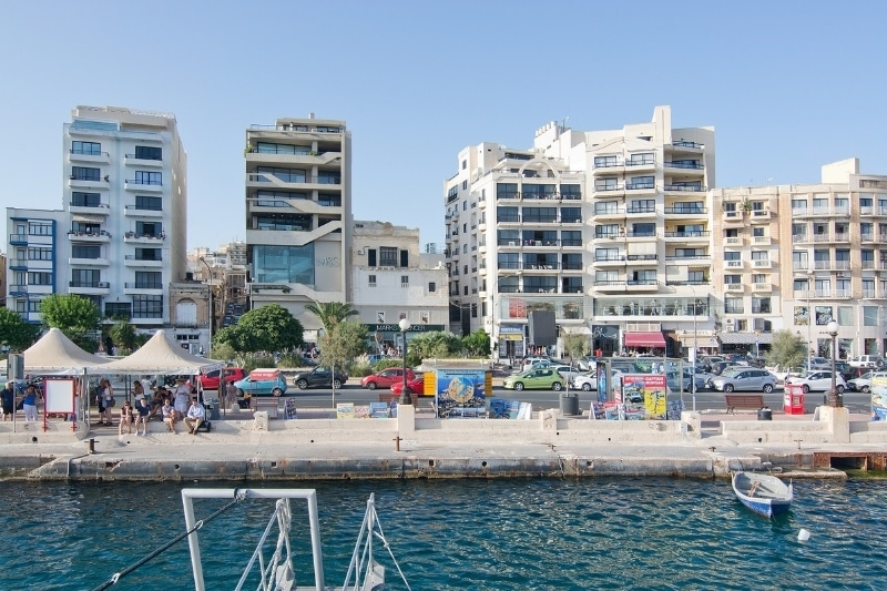 The marina at Sliema, one of the best places to stay in Malta