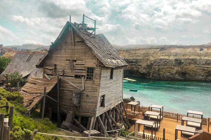 Old derelict house overlooking the ocean