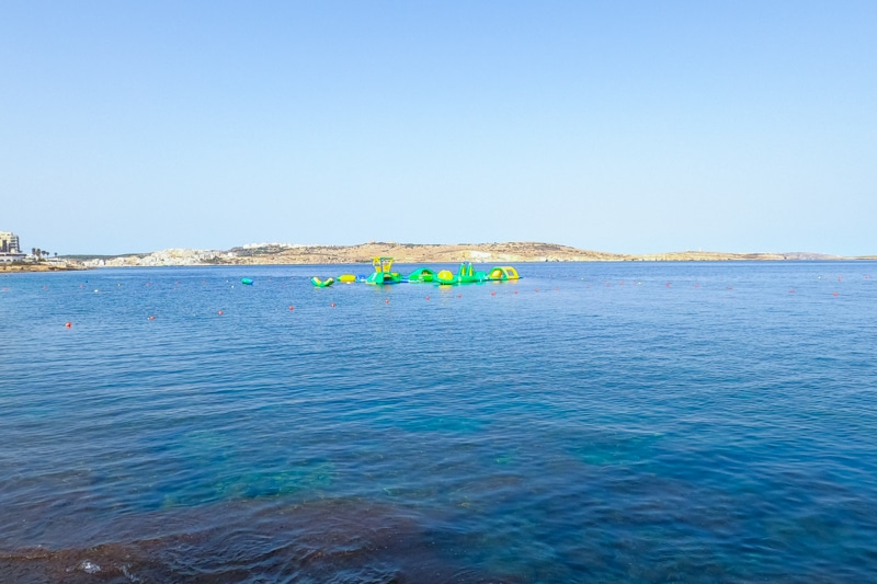 Inflatable obstacle course in the ocean
